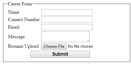 career form with attachment via email in asp net c