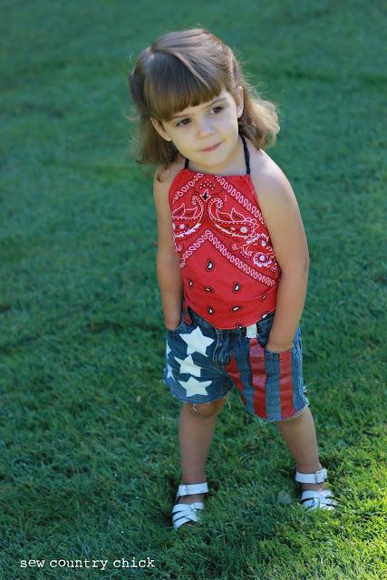 DIY American Flag Cutoffs and Bandanna top