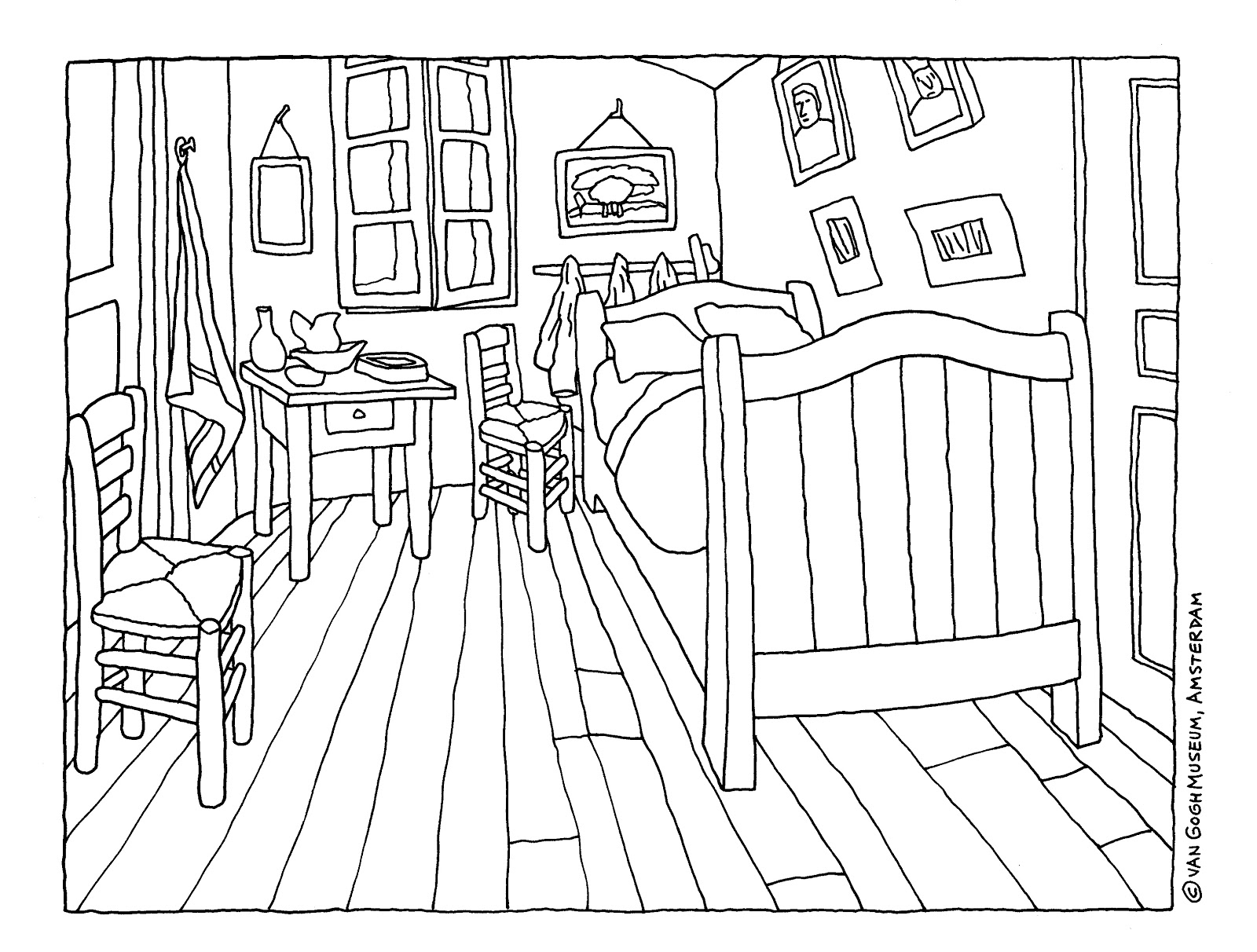 Bedroom in arles for Cuarto para colorear