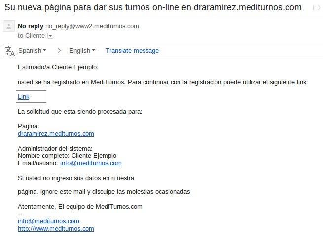 Email de verificación de su cuenta para crear su página de turnos