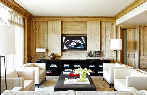 Wooden Decorative Wall Panels For Living Room With White Furniture