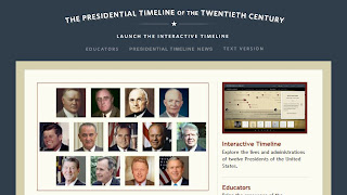 screen shot of Presidential Timeline homepage