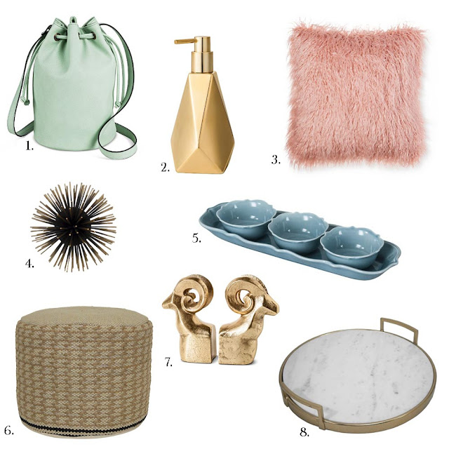 A Day In The Lalz; Target Finds under $50; Bucket Bag; Soap Dispenser; Faux Fur Pillow; Sea Urchin; Aqua Dish; Pouf; Bookends; Tray