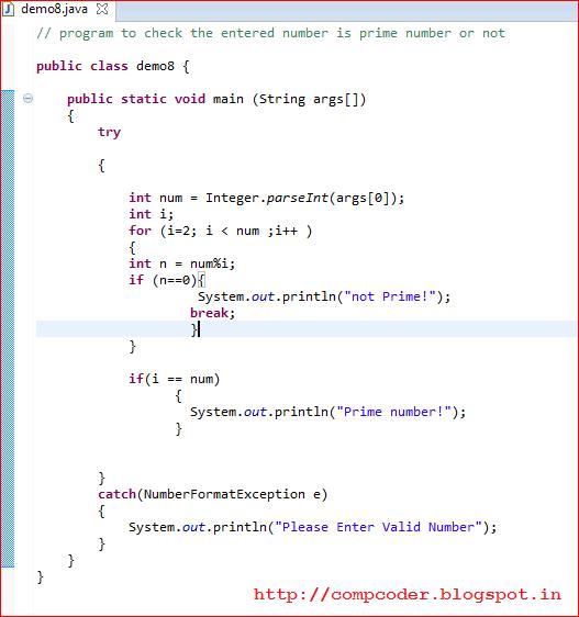 prime number in java