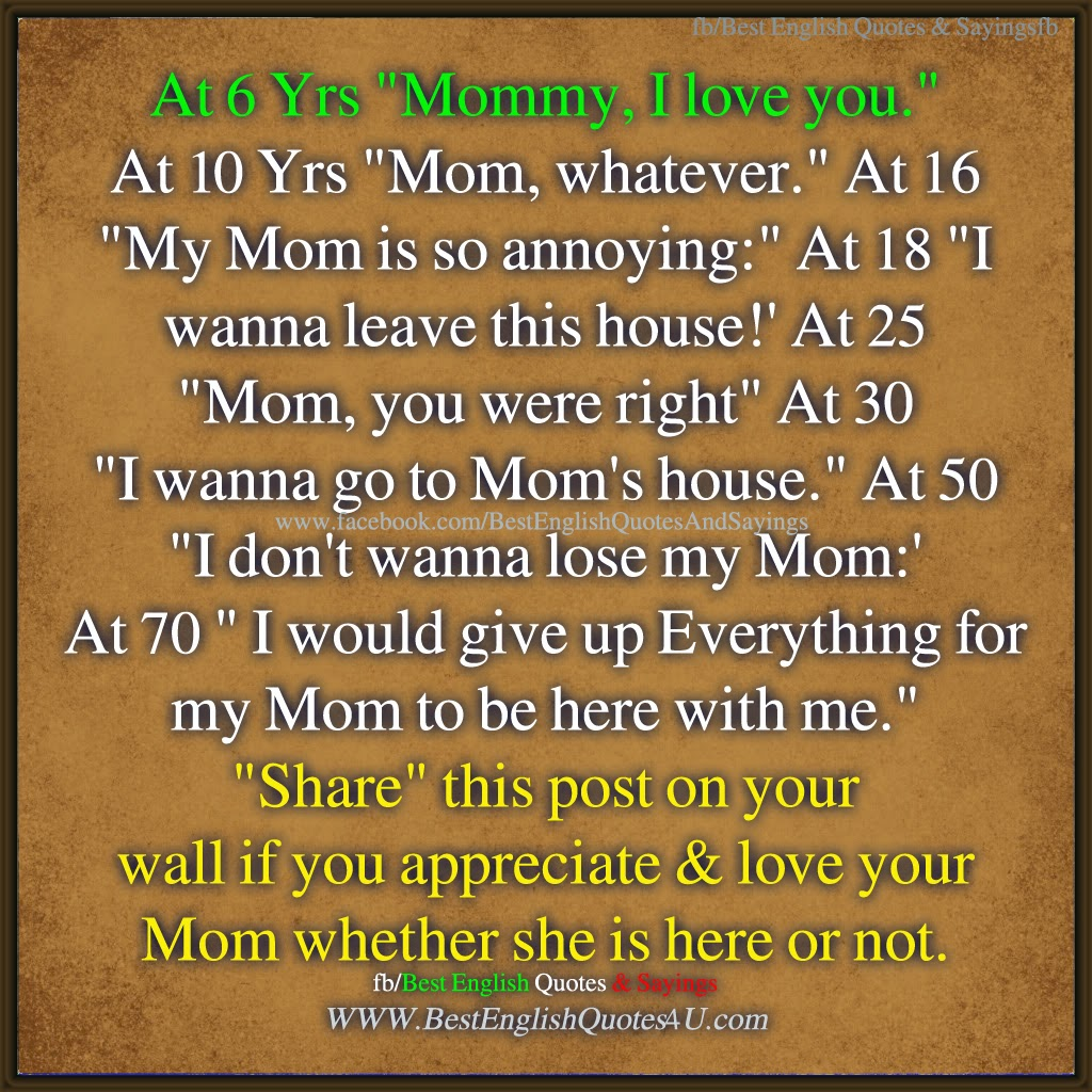 I Love You Mom Quotes I Love You Mom ♥  Best'english'quotes'&'sayings
