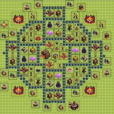 Base COC anti Hog Rider dan Dragon Untuk Town Hall 10