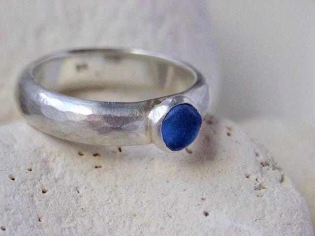 blue sea glass ring seaglass glasswing jewellery