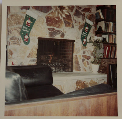 mid-century modern rock fireplace
