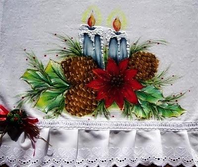 pintura em tecido pano de prato de natal