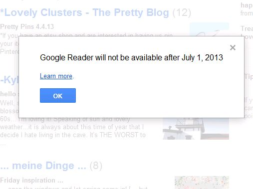 google reader shut down notice
