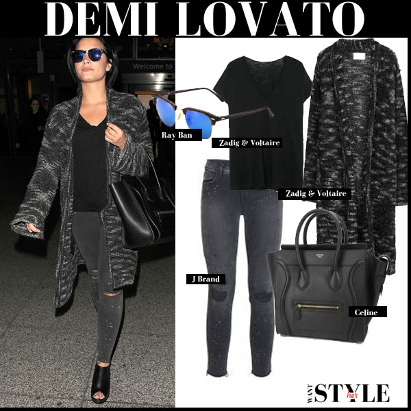 Demi Lovato in grey knit long cardigan, grey skinny jeans and blue mirrored sunglasses streetstyle