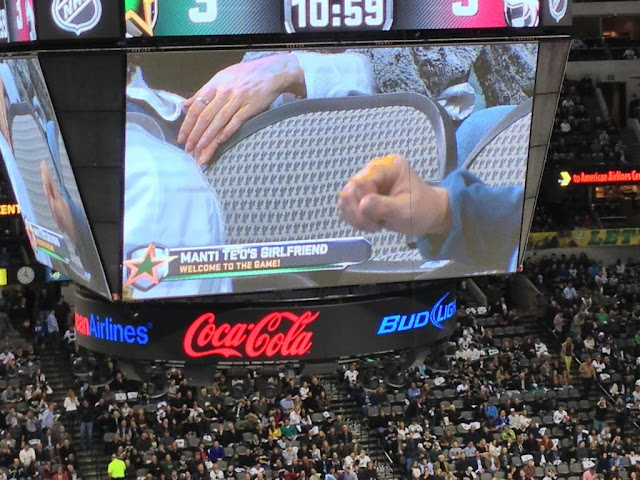 Manti Te'o's girlfriend was at the Dallas Stars game tonight.