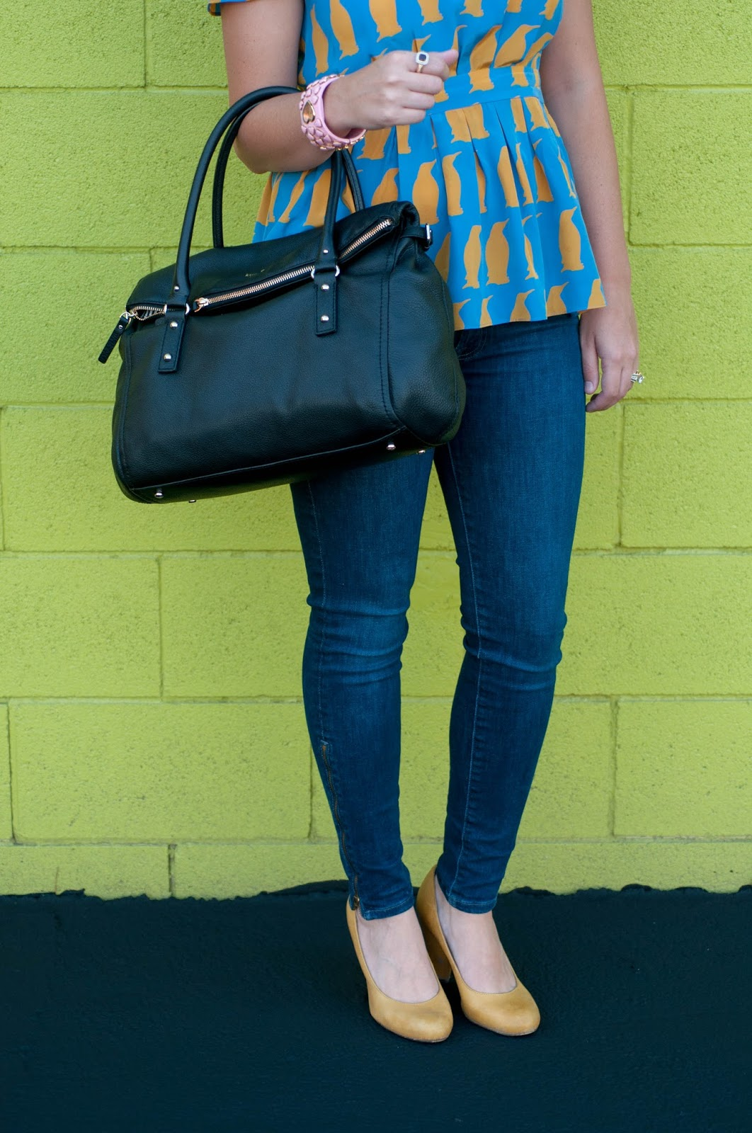 7 for all mankind, 7 jeans, charlotte taylor penguin chiffon blouse, kate spade cobble hill satchel, seychelles