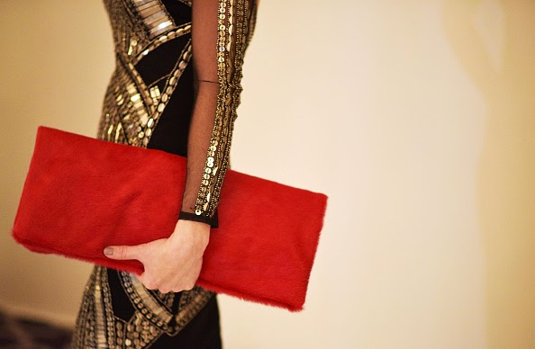 Andrea Mitchell red clutch, Andrea Mitchell handbags, red suede oversized clutch, New York Fashion Week handbags, best looks at NYFW, New York fashion week best looks