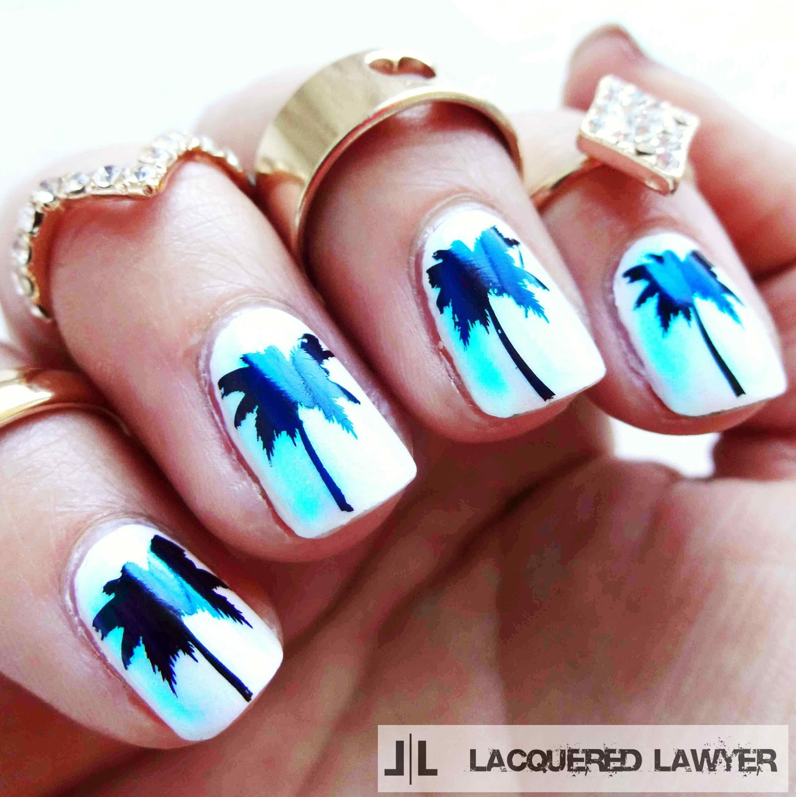 Pearlescent Palm Tree Nails