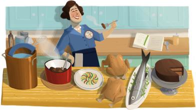 Doodle: homenagem aos 100 anos de Julia Child