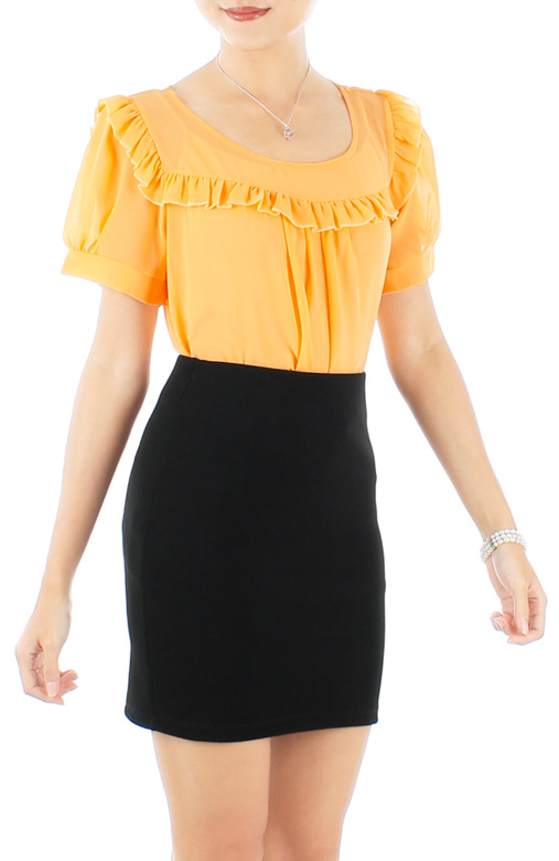 Xaver Ruffle Bib Blouse with Sleeves