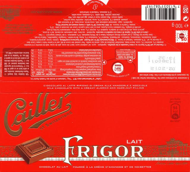 tablette de chocolat lait fourré cailler lait frigor