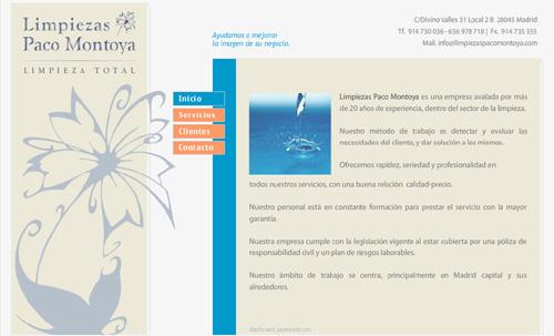 página web de Limpiezas Paco Montoya Madrid: Limpieza en cominudades de vecinos, oficinas y comercios, recogida de basuras, servicios de conserjería...