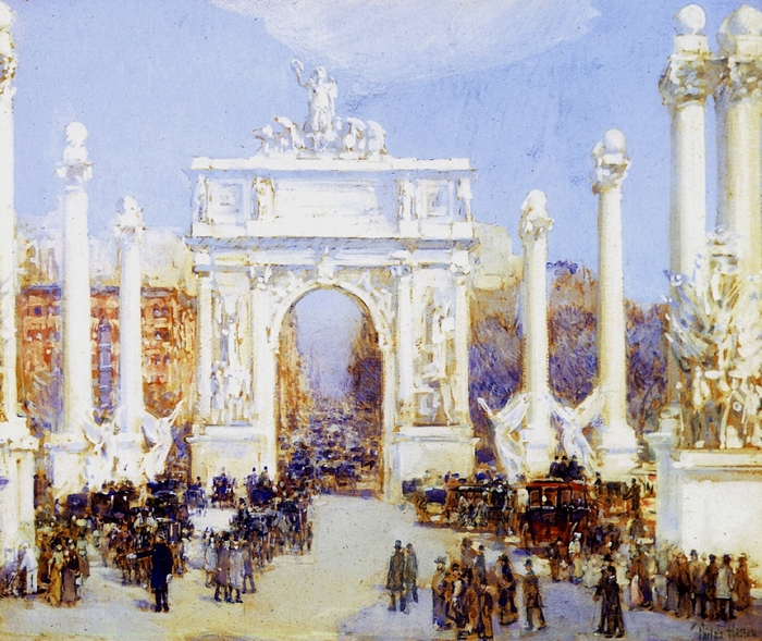 Childe Hassam 1859-1935 | American Impressionist painter | City Street Scene