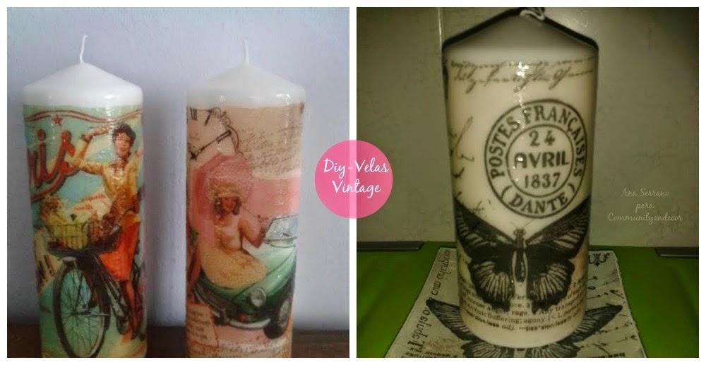 DIY con velas decoradas con decoupage