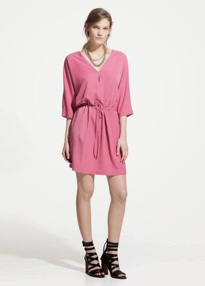Mango 2015 Elbise Modelleri  kemerli pembe bol kesim elbise, kısa model