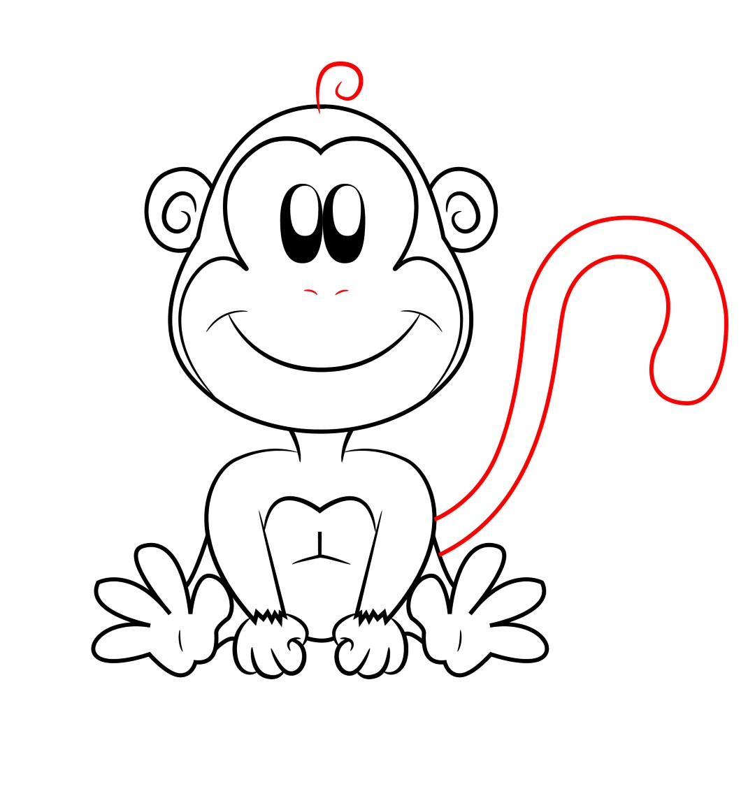Line Drawing Of Monkey Face : How to draw a cartoon monkey central