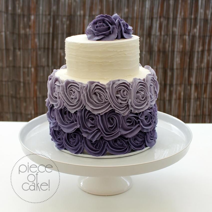 Cake With Roses Buttercream : Purple rose buttercream wedding cake Piece of Cake