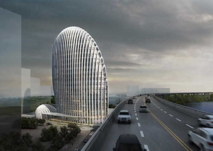 Impressive Modern Office Tower by Aedas from the highway