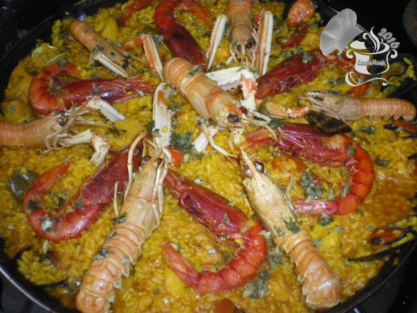 Arroz en paella de pescado y marisco kanelamonje recetas - Paella de pescado ...
