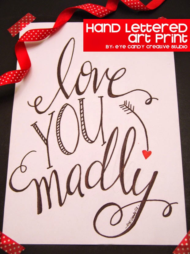 love you madly, art prit, hand lettering, word art, valentines day, wedding, anniversary print