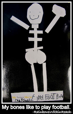 photo of: My bones like to play football. (Bones Book in Kindergarten from LizzLessons via RainbowsWithinReach) 