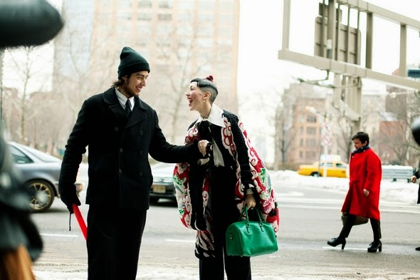 winter street style new york womens street style green bag