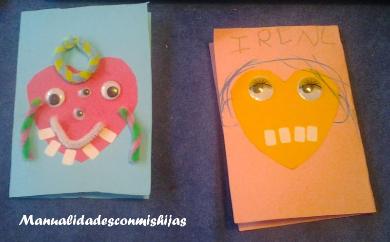 Tarjetas de corazon-monstruos para San Valentin