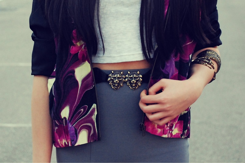 asos, paint it red, grey, jeffrey campbell soiree, topshop, floral bomber jacket, maxi split skirt