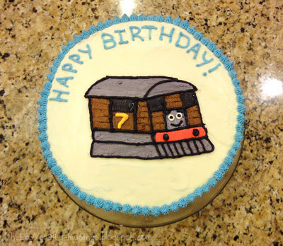 Big Bear's birthday cake, featuring Toby the Steam Tram