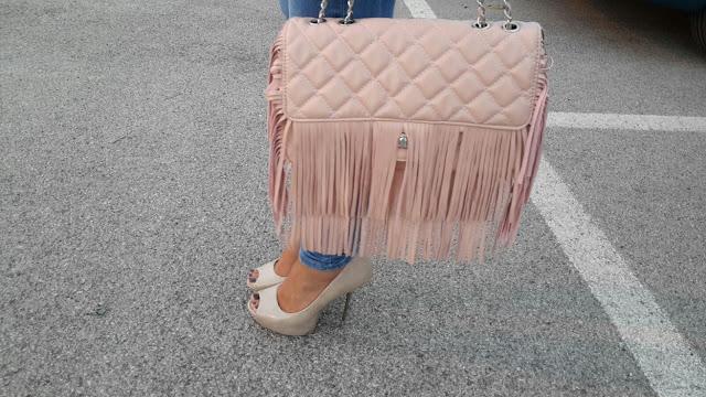 borsa rosa cipria stile chanel