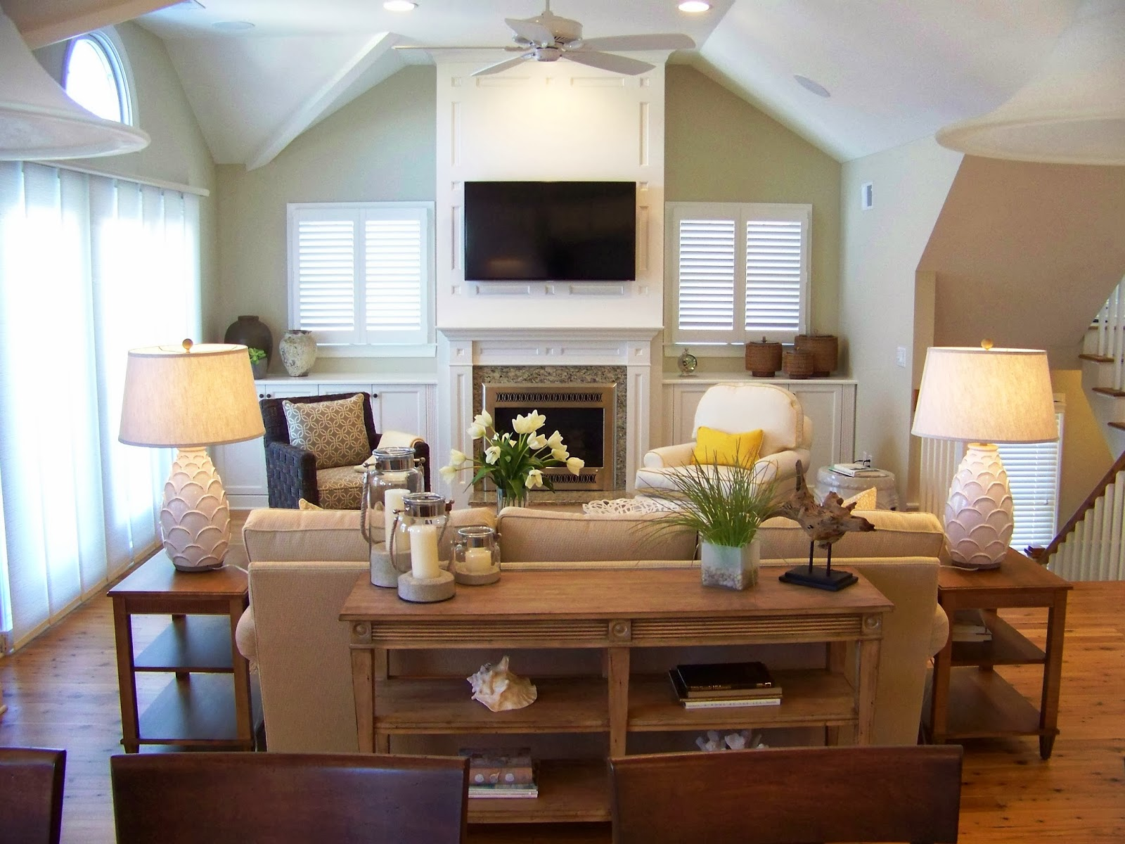 Color changes everything beach house for Living room with fireplace decorating ideas