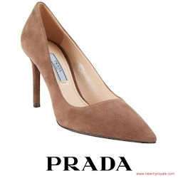 Sophie, Countess of Wessex Style PRADA Suede Pumps  and EMILIA WICKSTEAD Midi Suit