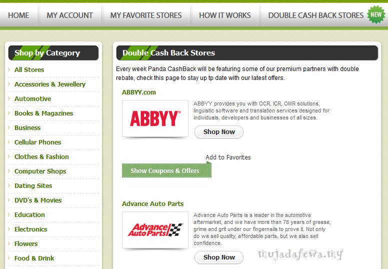 panda cashback, shopping online, dapat duit online, buat duit online, shopping untuk dapat duit, dapat duit dengan shopping