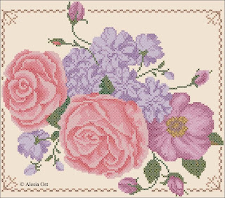 Free cross-stitch patterns, Floral Ensemble, floral, flower, rose, oriental, Chinese, cross-stitch, back stitch, cross-stitch scheme, free pattern, x-stitchmagic.blogspot.it, вышивка крестиком, бесплатная схема, punto croce, schemi punto croce gratis, DMC, blocks, symbols
