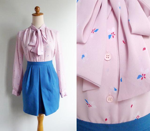 vintage powder pink secretary blouse