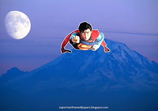 Wallpaper of Superman super sonic speed flying at Blue Moon Mountain