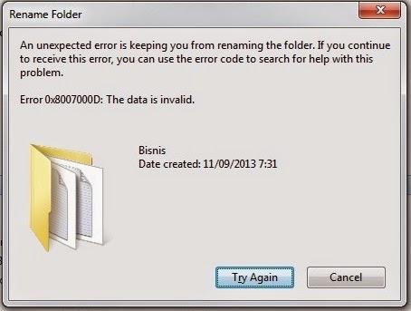 cara menangani error 0x800700D:The data is invalid