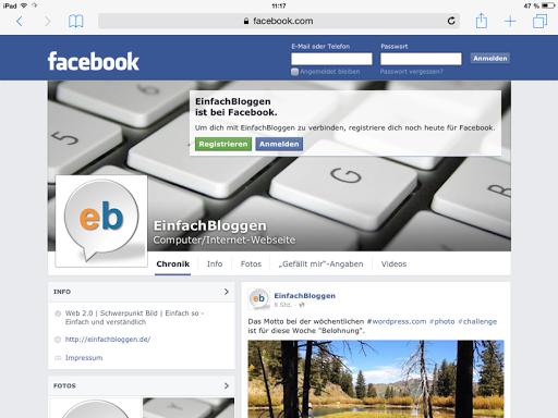 EinfachBloggen ist jetzt auch auf Facebook