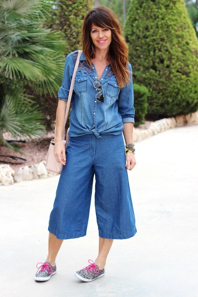 total denim, streetstyle, fashion blogger, tendencias otoño 2015 , culottes denim