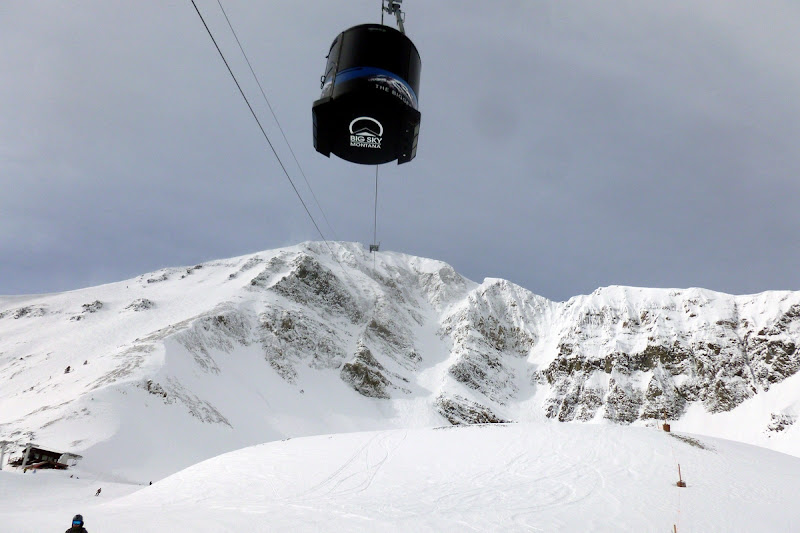 Looking up the Lone Peak Tram at Big Sky, Montana.  The Saratoga Skier and Hiker, first-hand accounts of adventures in the Adirondacks and beyond, and Gore Mountain ski blog.