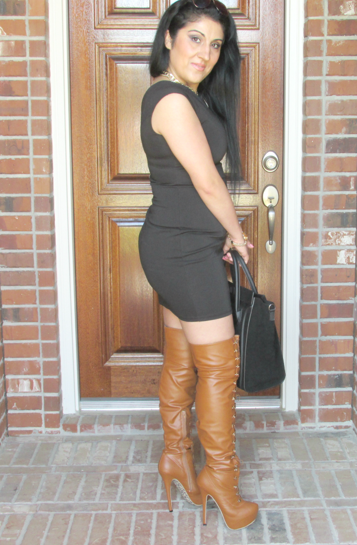 Outfit with camel platform thigh-high boots