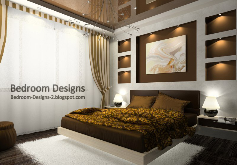 Master Bedroom Design With Brown Stretch Ceiling