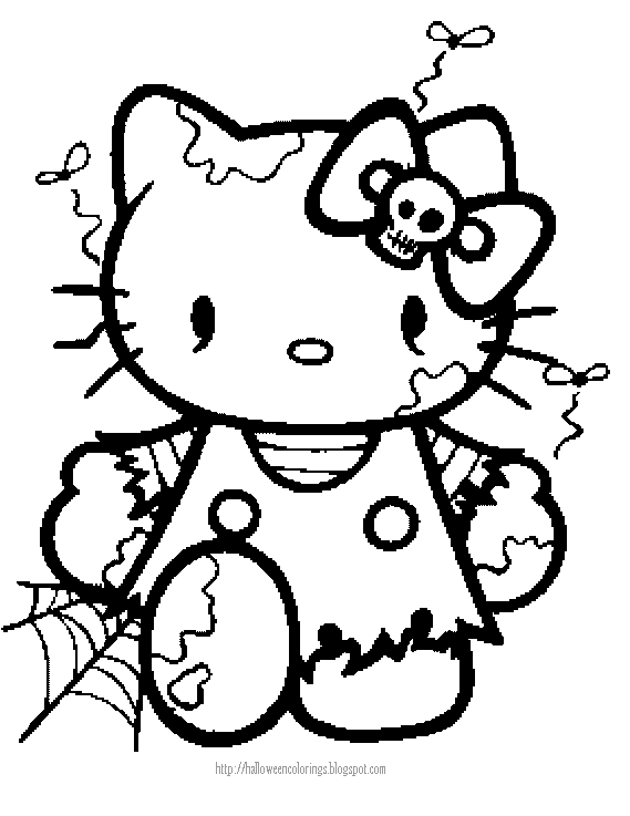 Emo Hello Kitty Coloring Pages Hello Kitty Halloween Coloring